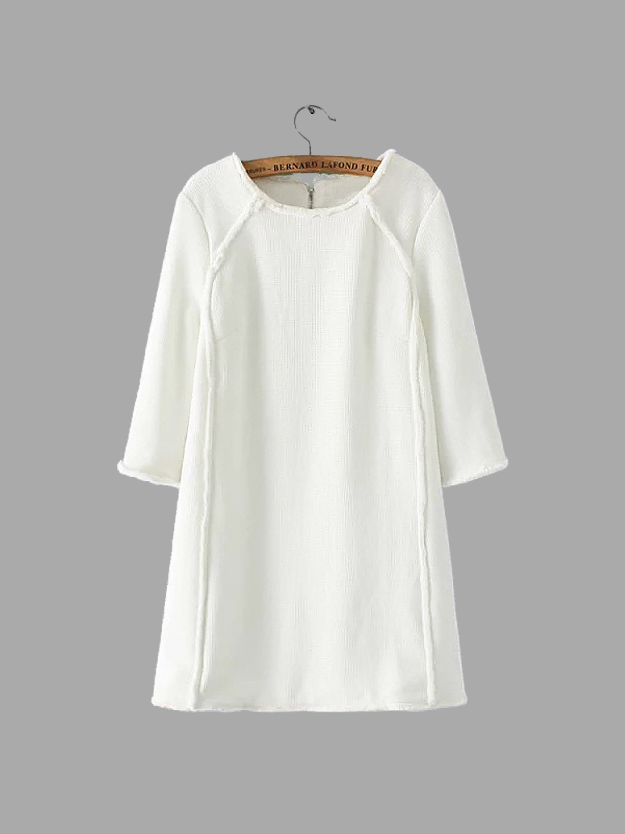 White Stitching Round Neck Mini Dress