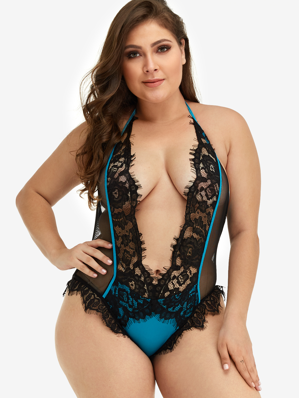 Plus Size Color Block Eyelash Lace Trim Teddy Bodysuit