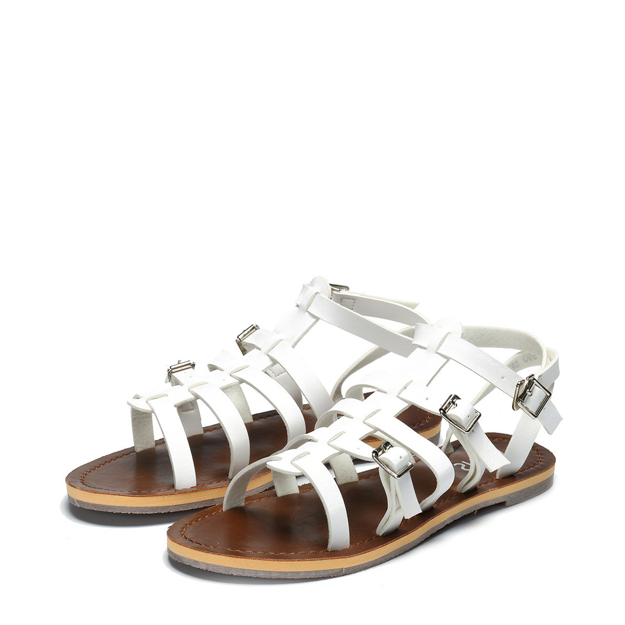 8737c6a43ebbe White Strappy Buckle Design Flat Sandals - US 22.95 -YOINS