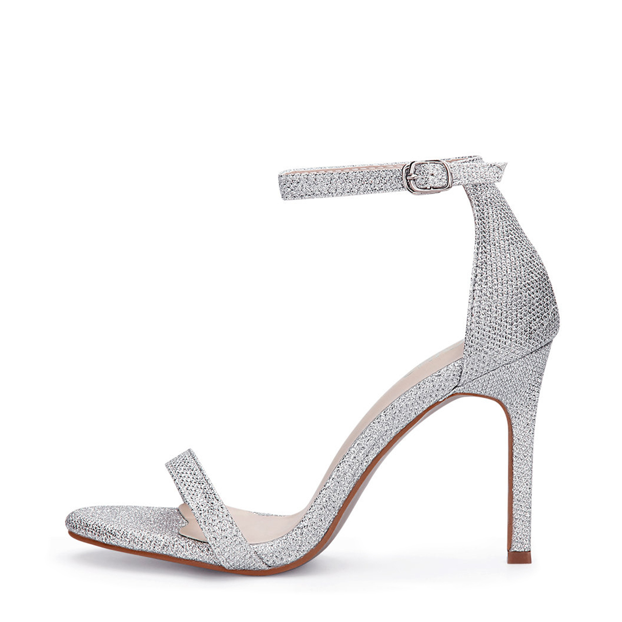 Silver Cross Strap High Heels With Ankle Pin Buckle Strap