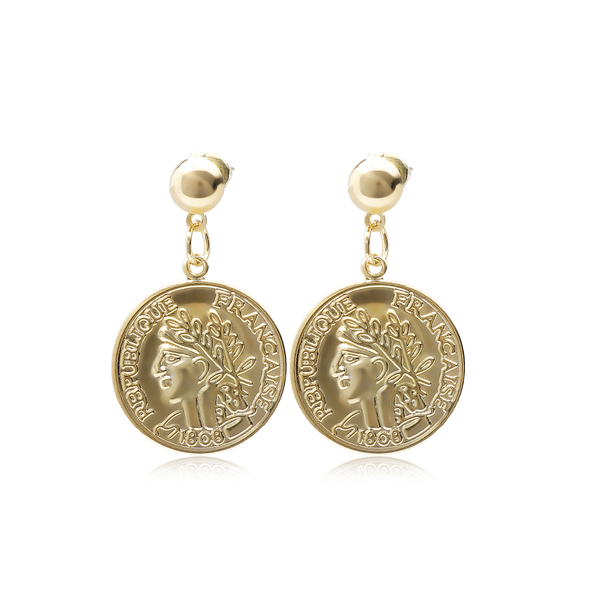 Gold Vintage Coin Detail Drop Earrings