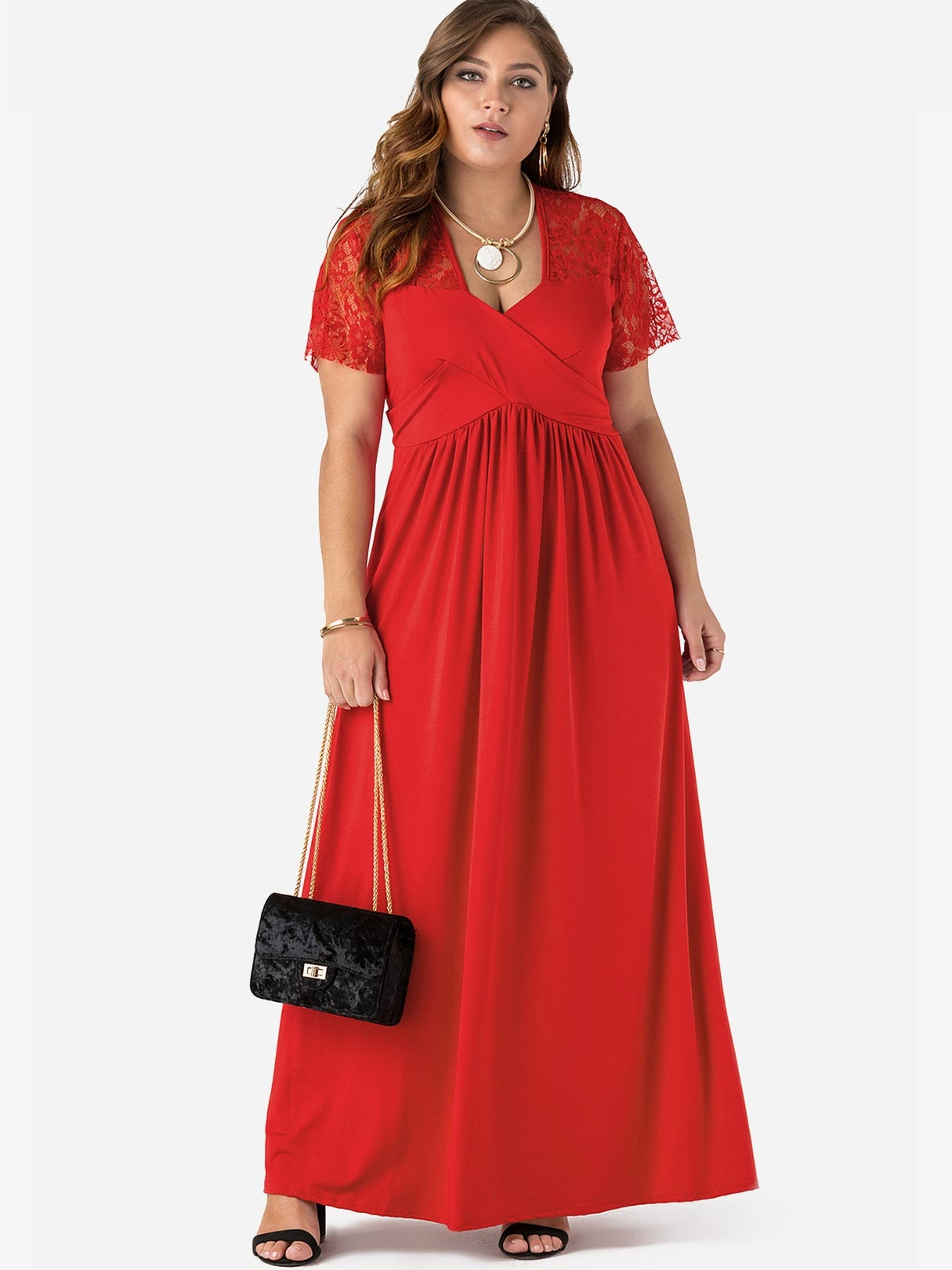 b3c559600e3 Plus Size Red Stretch Lace Insert Maxi Dress - US 29.95 -YOINS