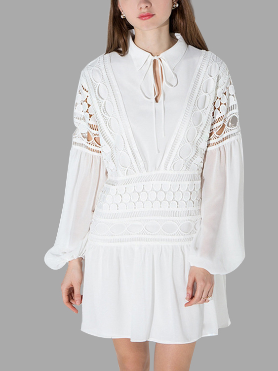 White Long Sleeves Lace Insert Hollow Out Stitching Design Mini Dress
