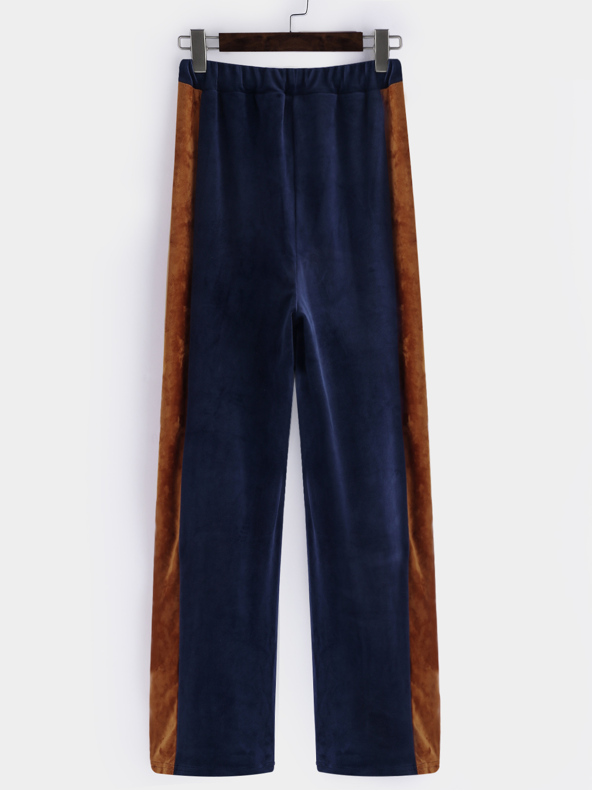 Blue Active  Wide Leg Velvet Contract Color Pants