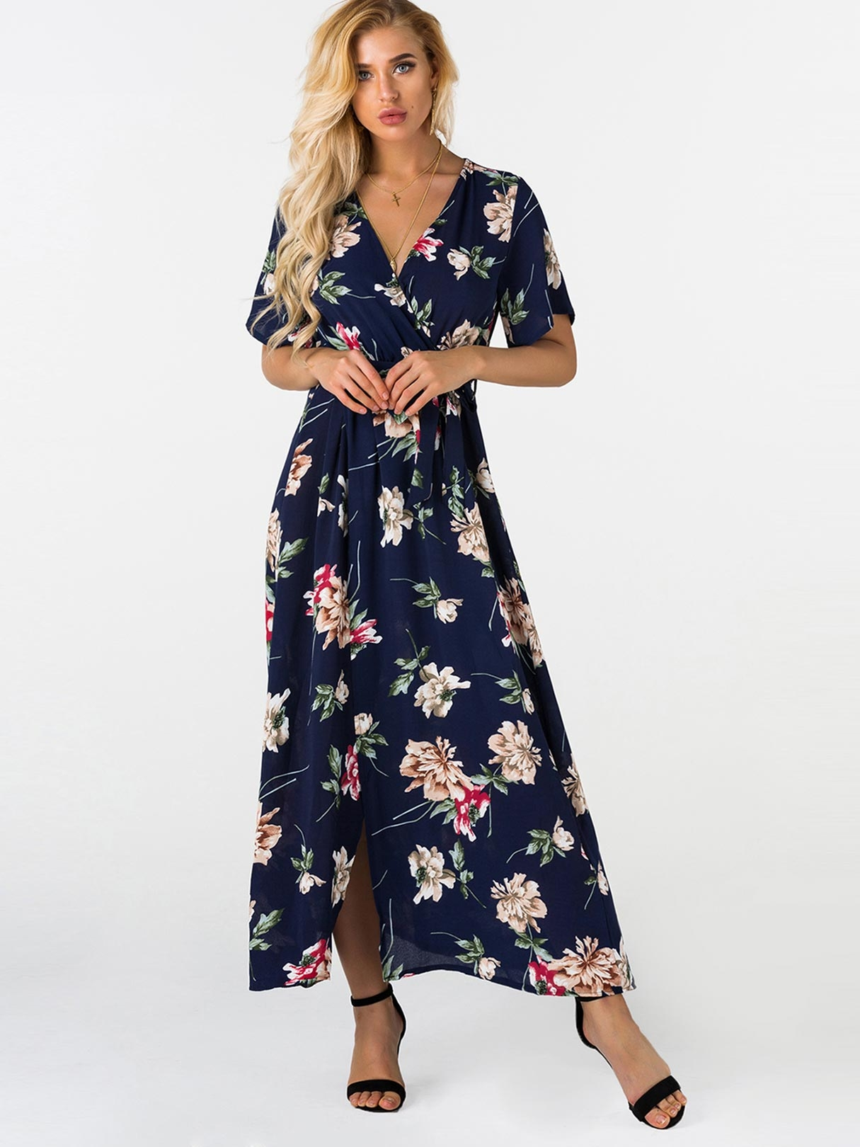 Random Floral Print V-neck Short Sleeves Split Hem Maxi Wrap Dress