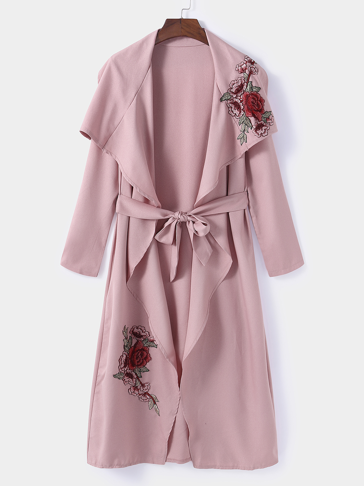 Image of Pink Rose Embroidered Lapel Collar Belt Design Trench Coat