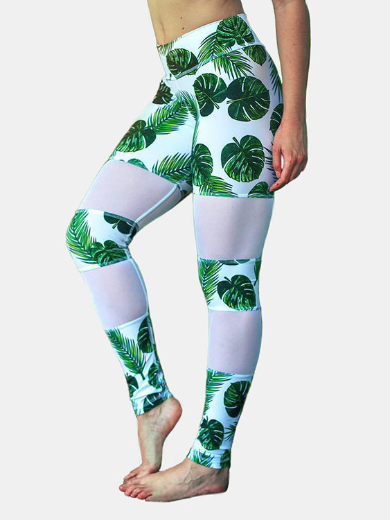 Active Random Floral Print Quick Drying Gym Leggings in Green