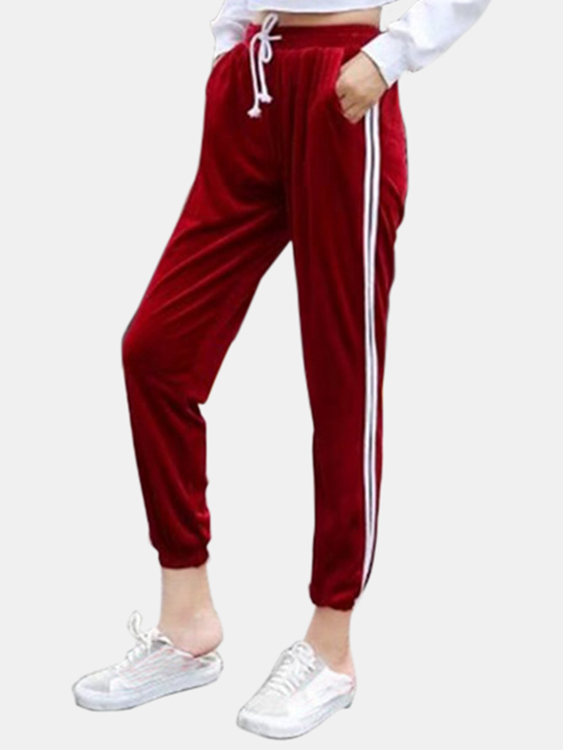 Active Contrast Color High Waisted Velvet Pants in Red