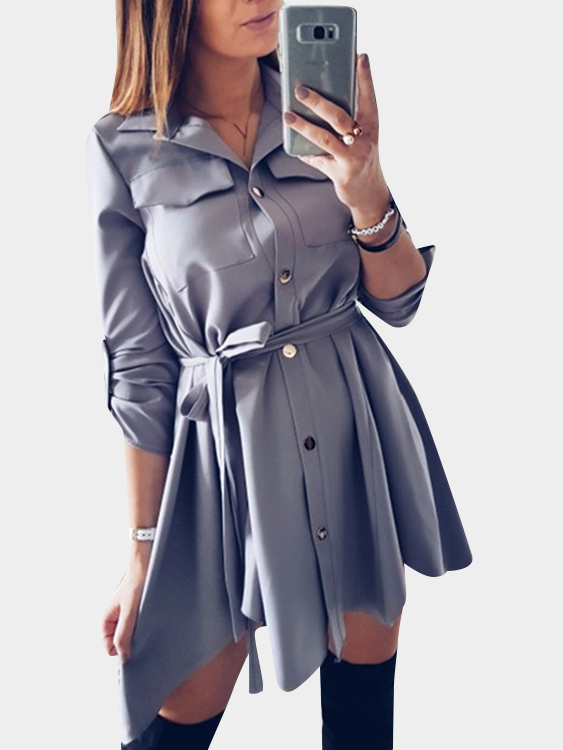 Dark Grey Collar Lace-up Design Single Breasted Button Shirt Dress