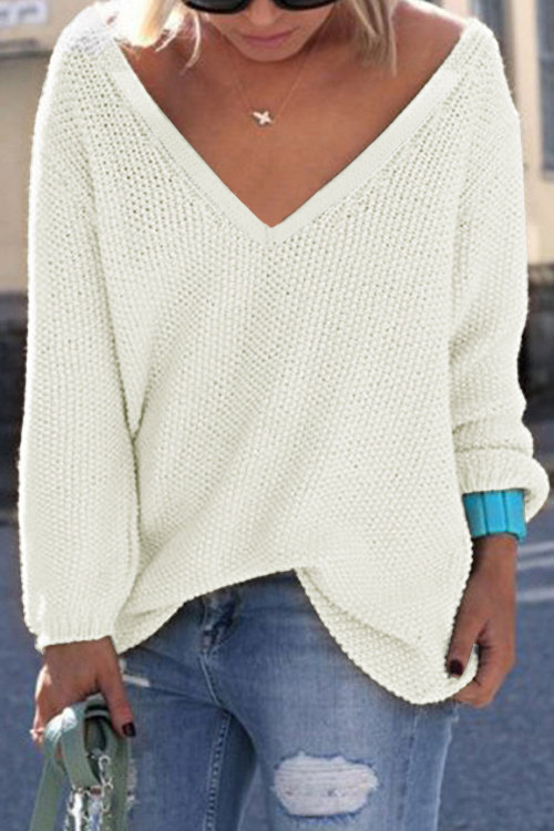 White Classic Design Loose Plunge Sweater