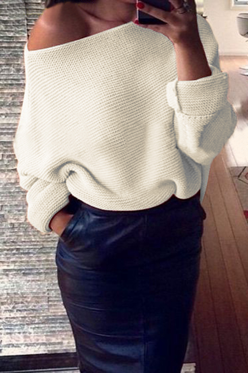 White Sexy Pullover Dolman Sleeve Loose Jumper