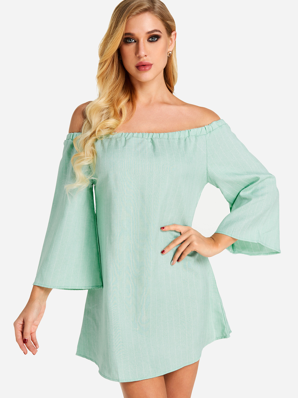 Green Sexy Off Shoulder Lace Up Stripe Pattern Mini dress