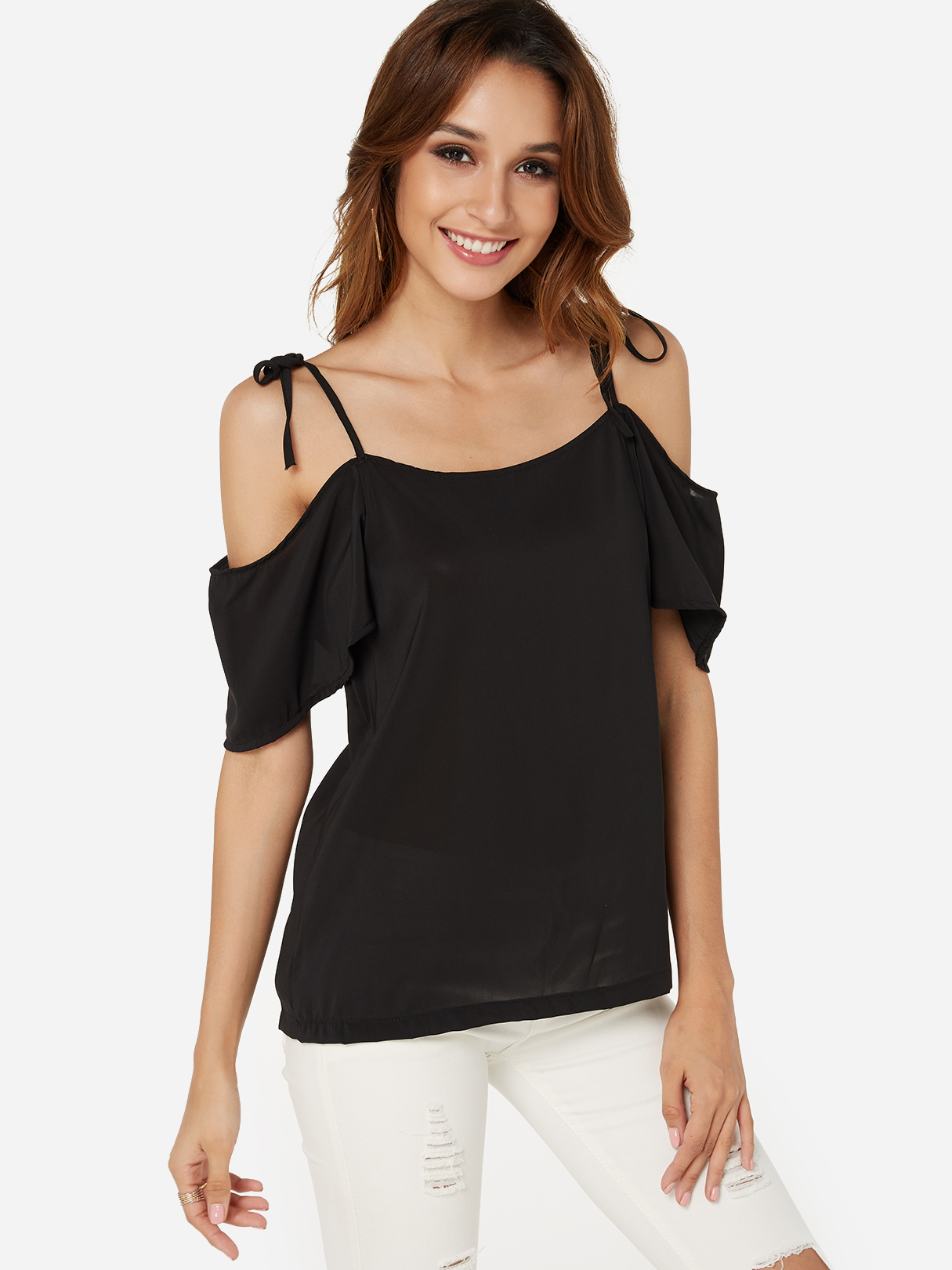 Black Adjustable Shoulder Straps Cold Shoulder Self-tie Design Tee