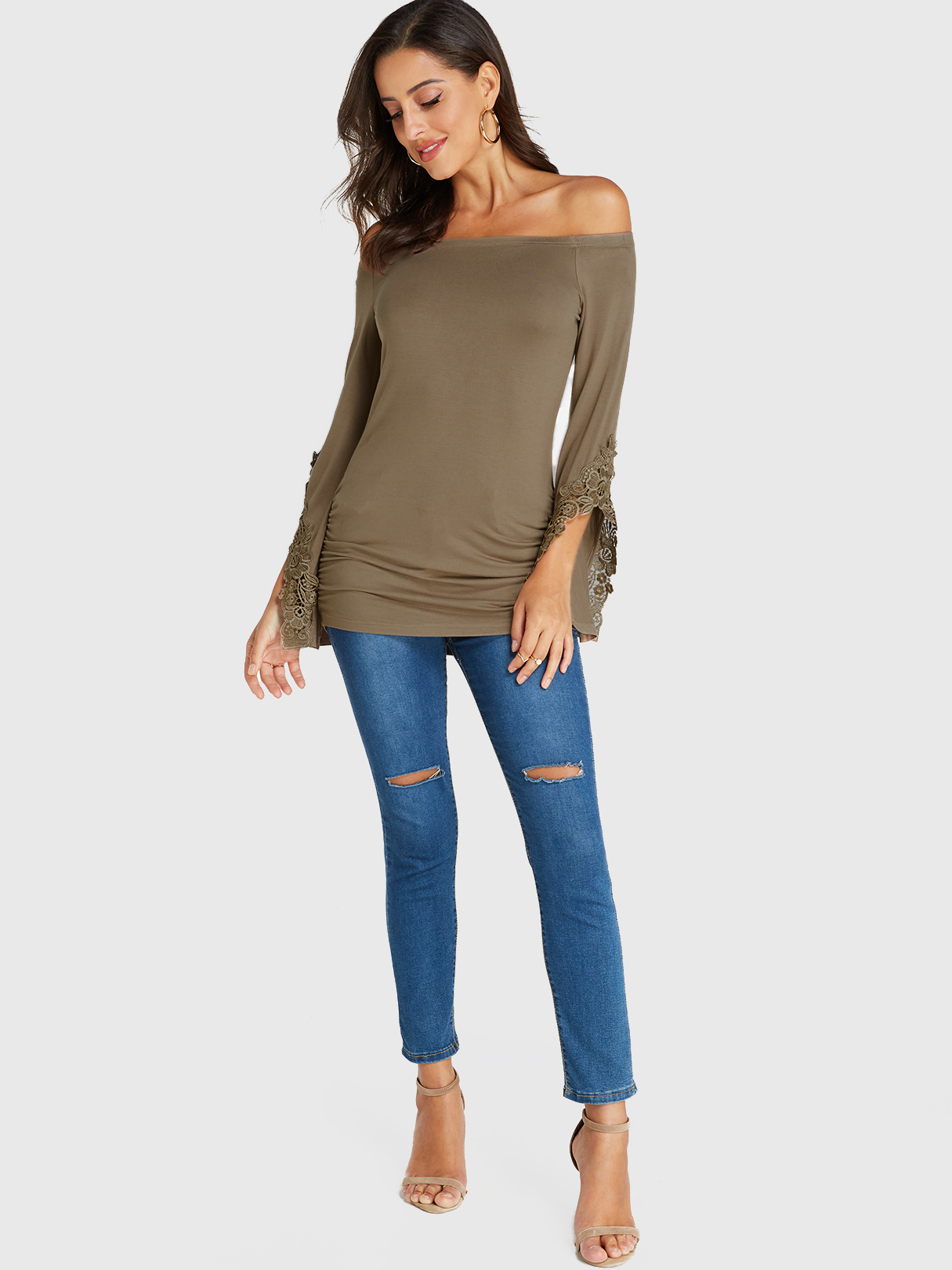 Khaki Lace Off The Shoulder Long Sleeves Top