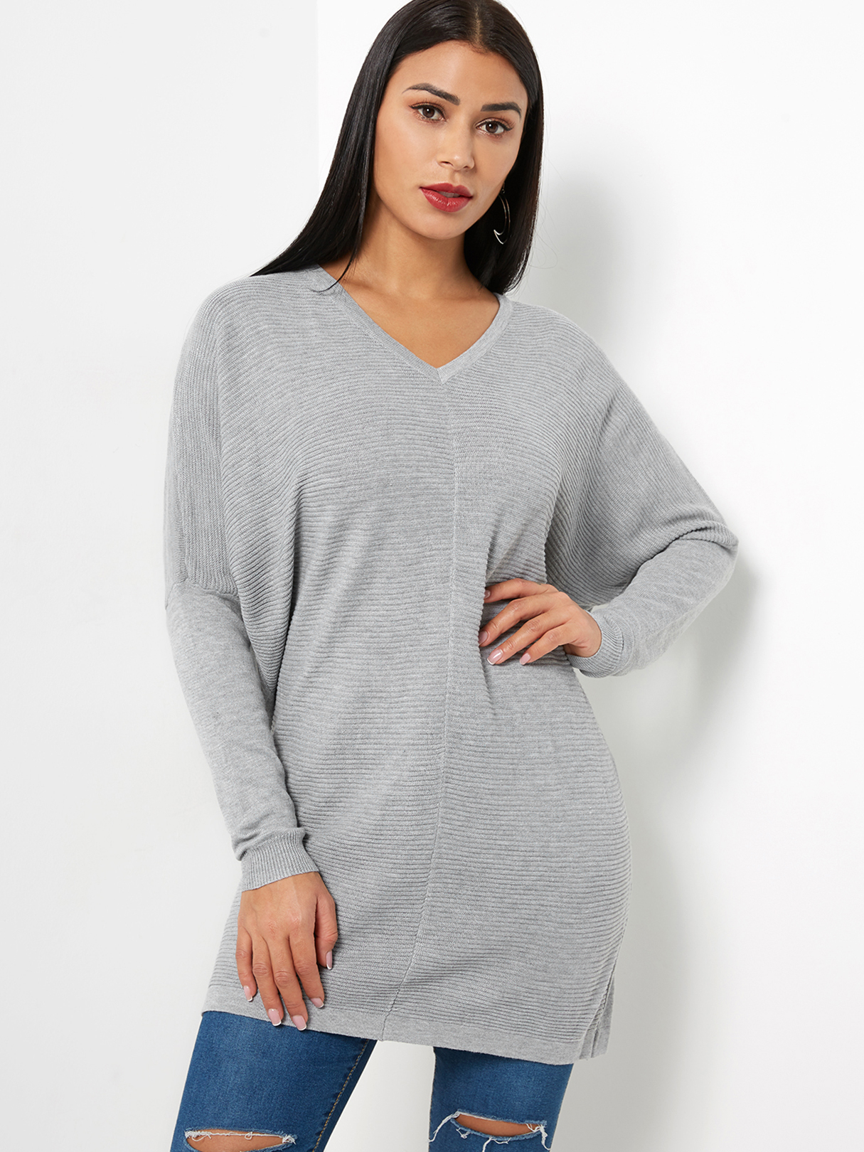 Grey Casual Long Sleeves V-neck Sweater