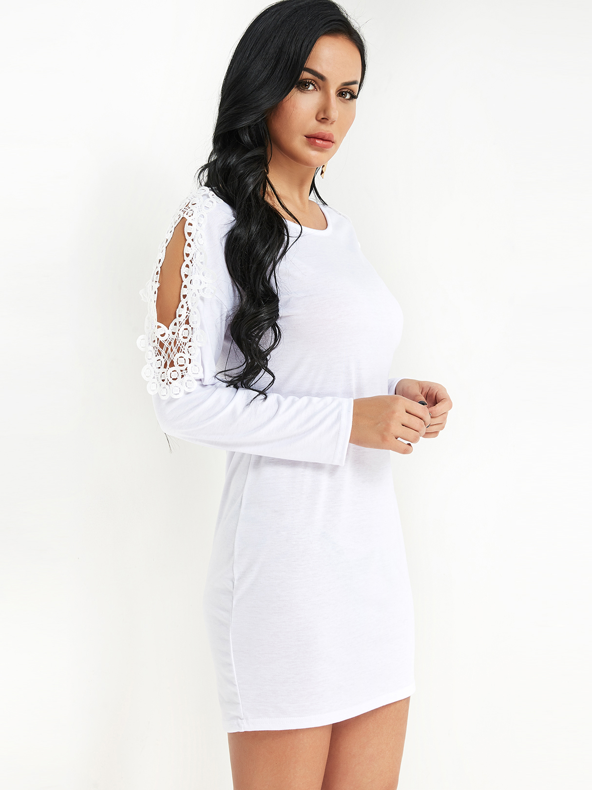 White Lace Insert Cold Shoulder Mini Dress