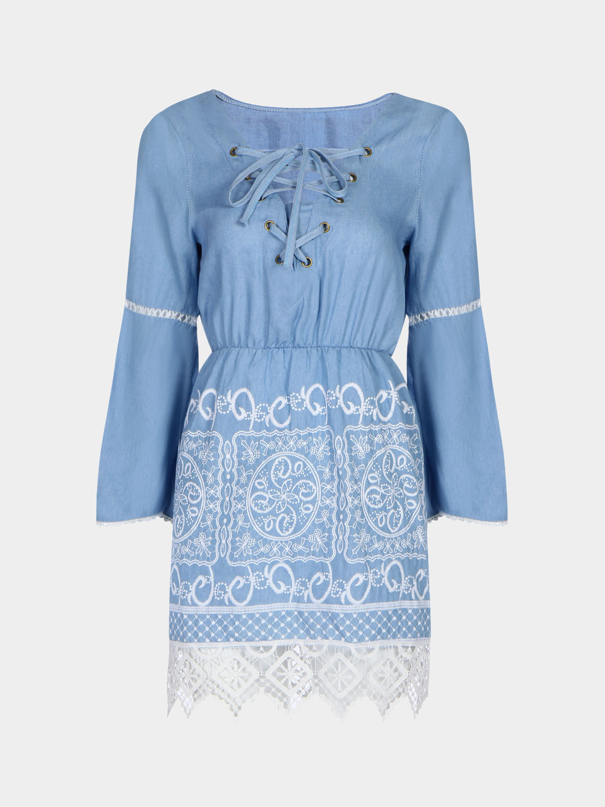Lace Insert Hollow Out 3/4 Length Sleeves Dress