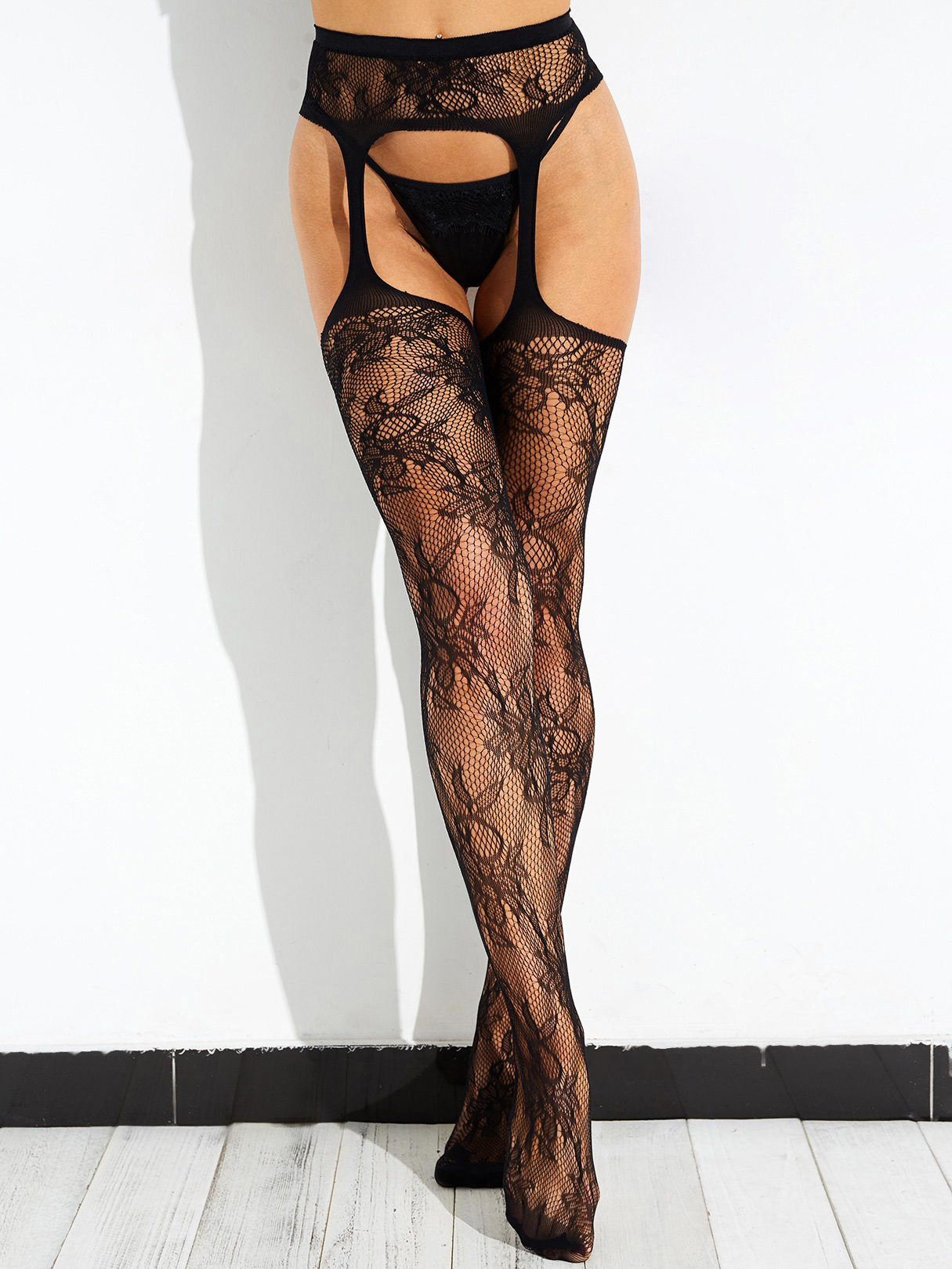 Black High-waisted Fishnet Thigh High Embroidery Garter Stockings Pantyhose - Pattern 2