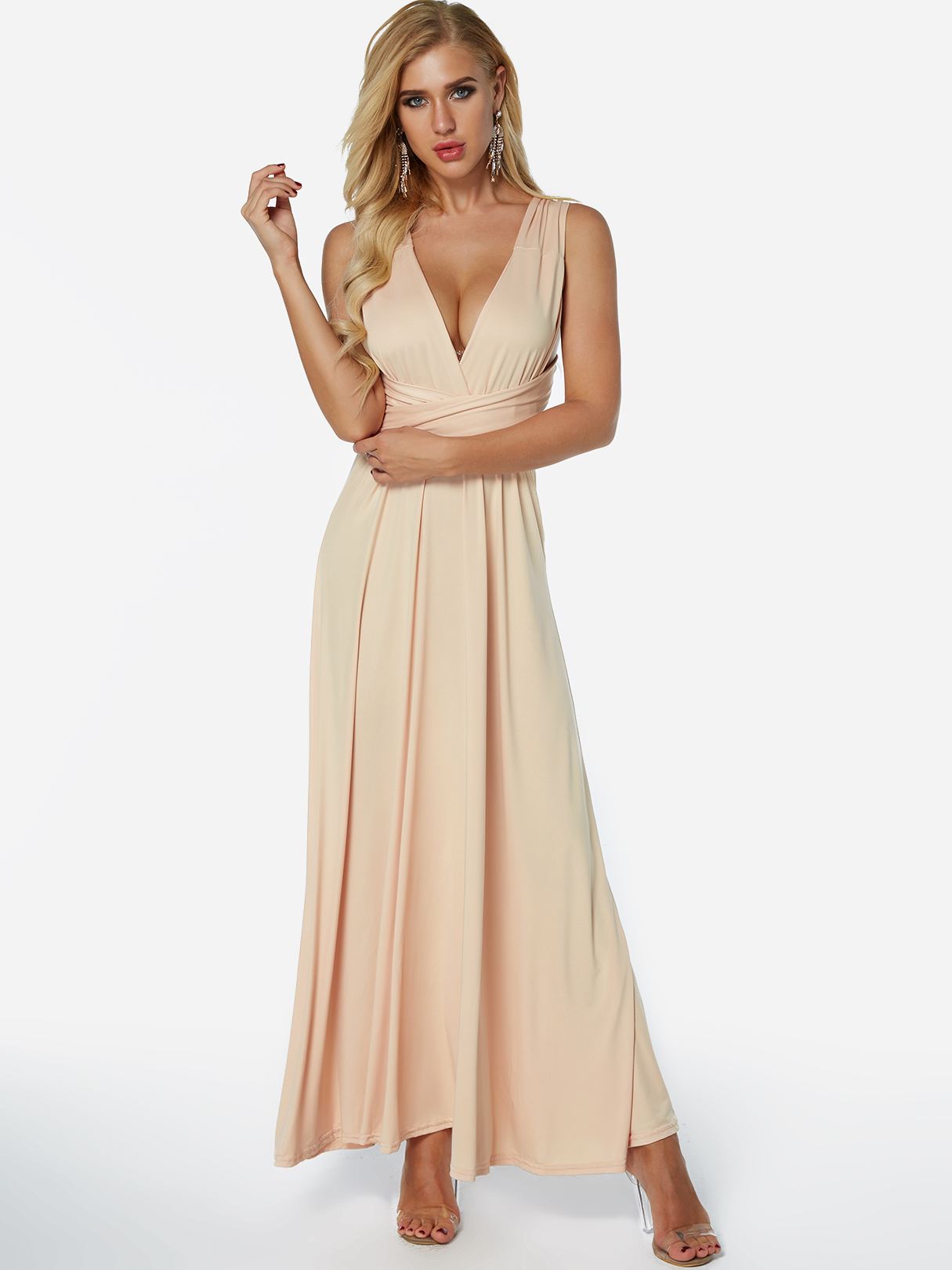 Champagne Backless Criss-cross Deep V-neck Maxi Dress