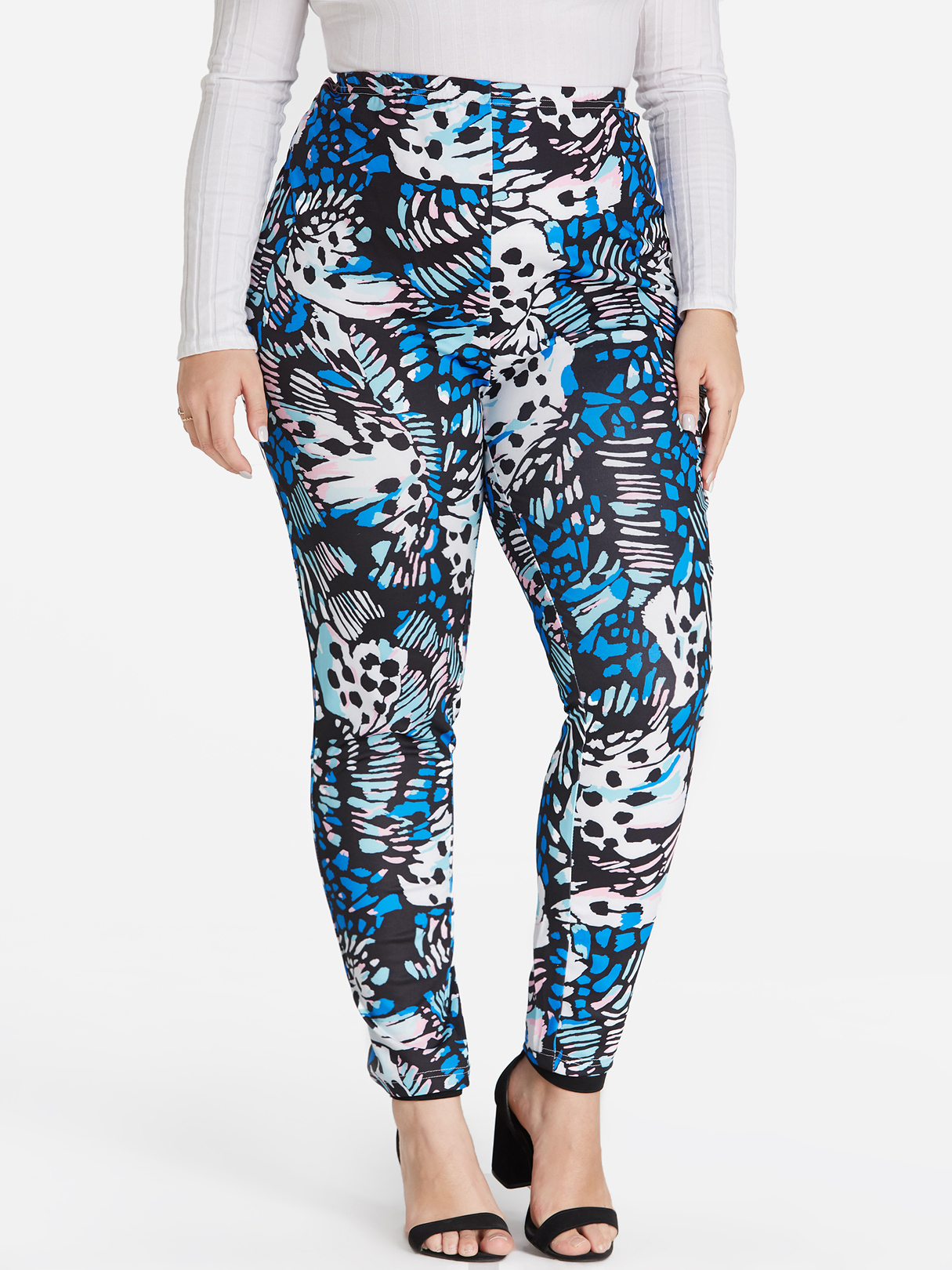 Plus Size Butterfly Print Leggings