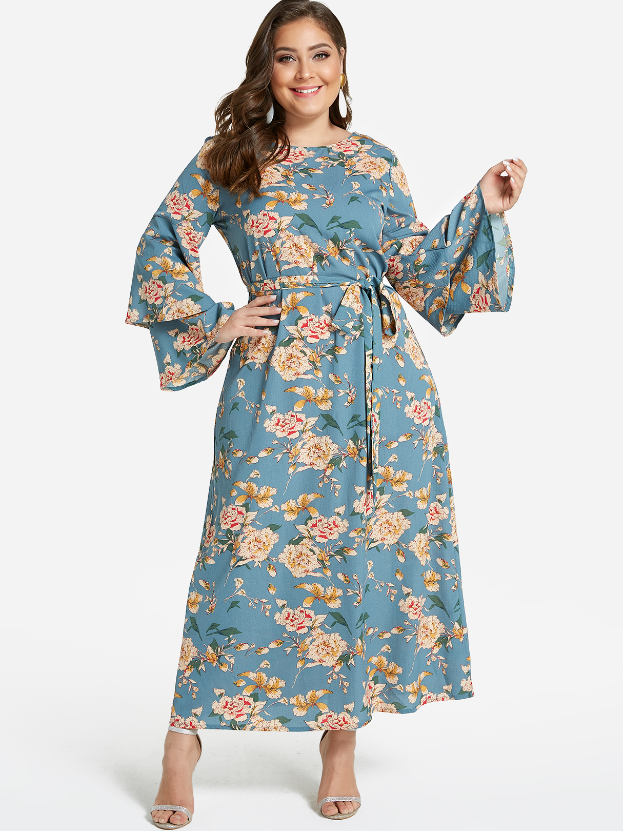 Plus Size Green Floral Print Tiered Bell Sleeves Maxi Dress