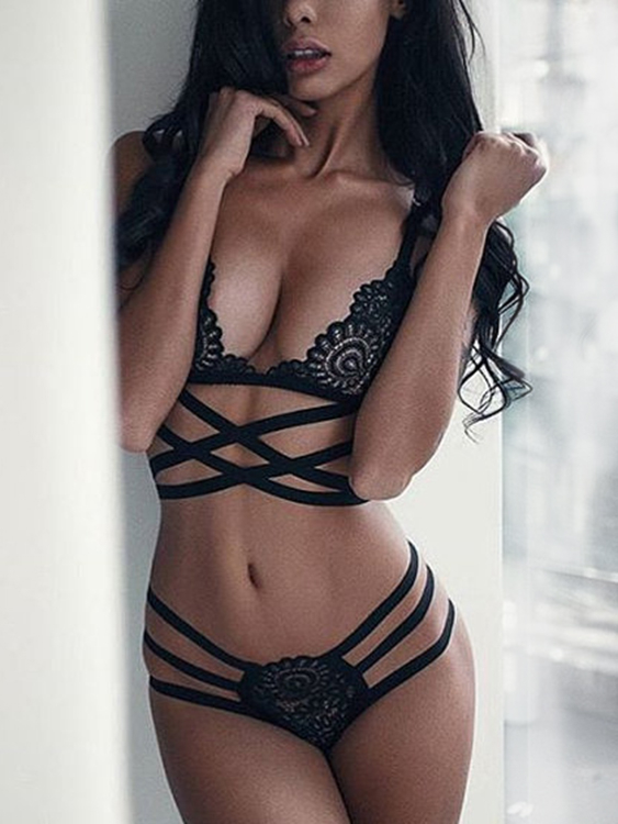 Sexy Black Lace Criss-cross Lingerie Set