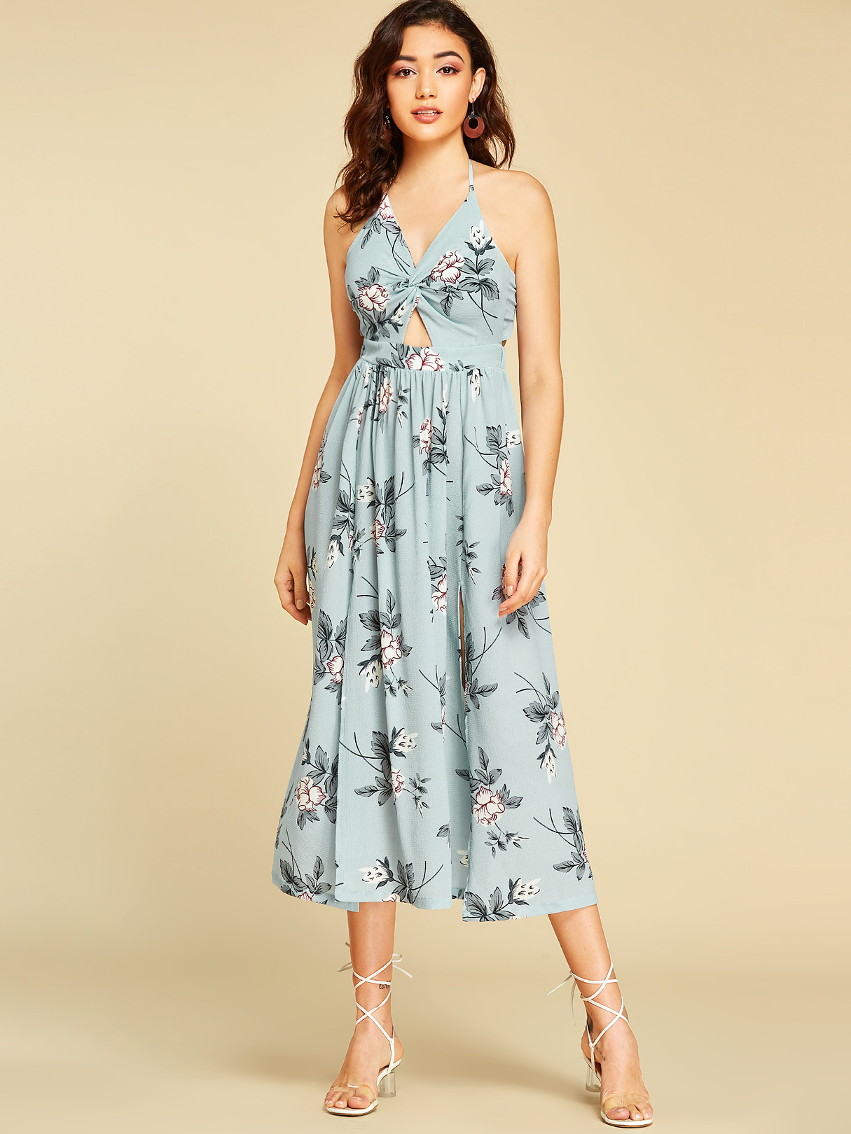 Blue Backless Design Random Floral Print Halter Dress