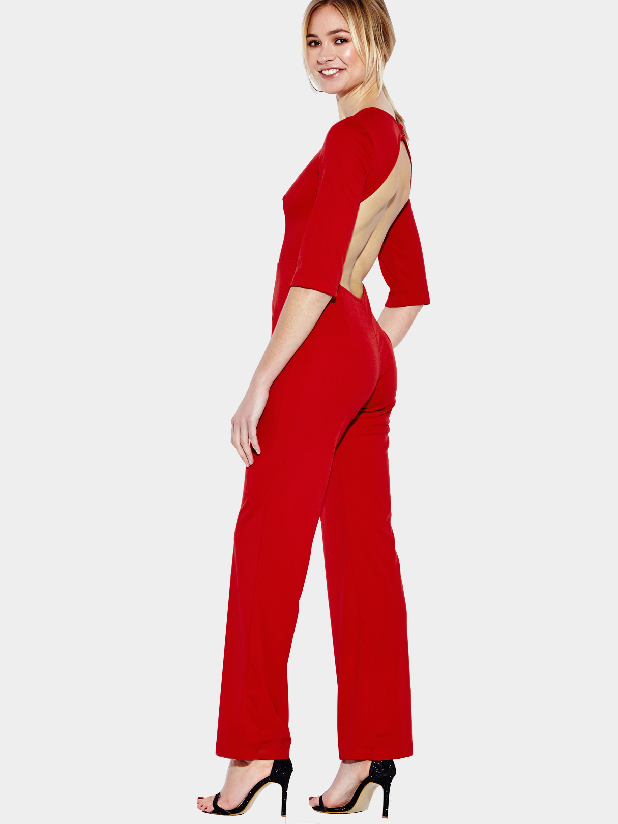 Image of 3/4 Length Sleeves Backless Jumpsuit