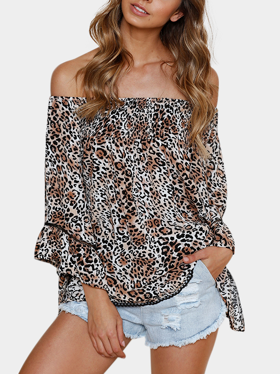 Fashion Leopard Off The Shoulder Flared Sleeves Blouse