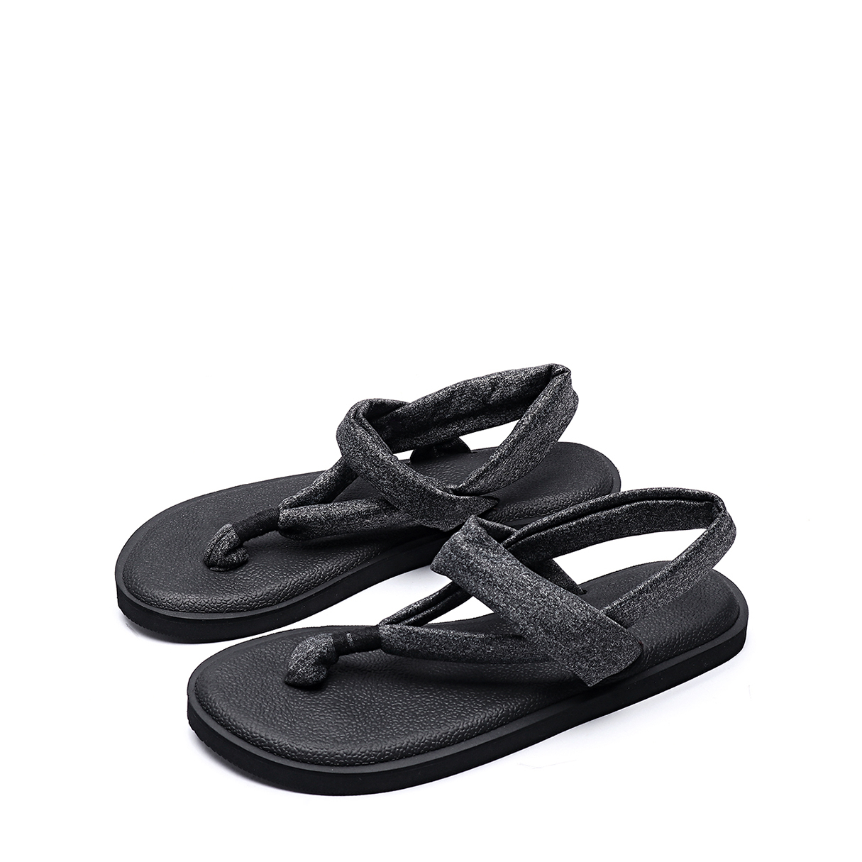Casual Solid Color Flat Thong Sandals in Black