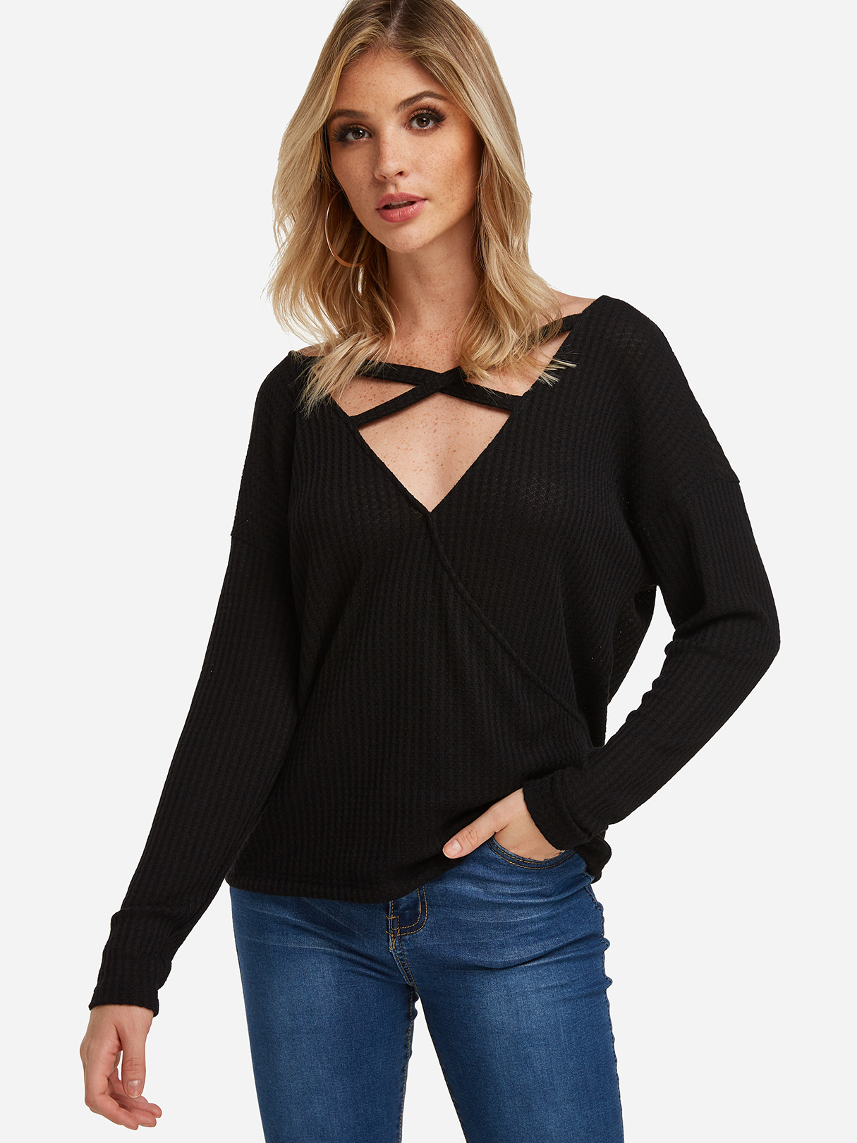 Black Lowcut V-neck Cross Strap Cozy Tee