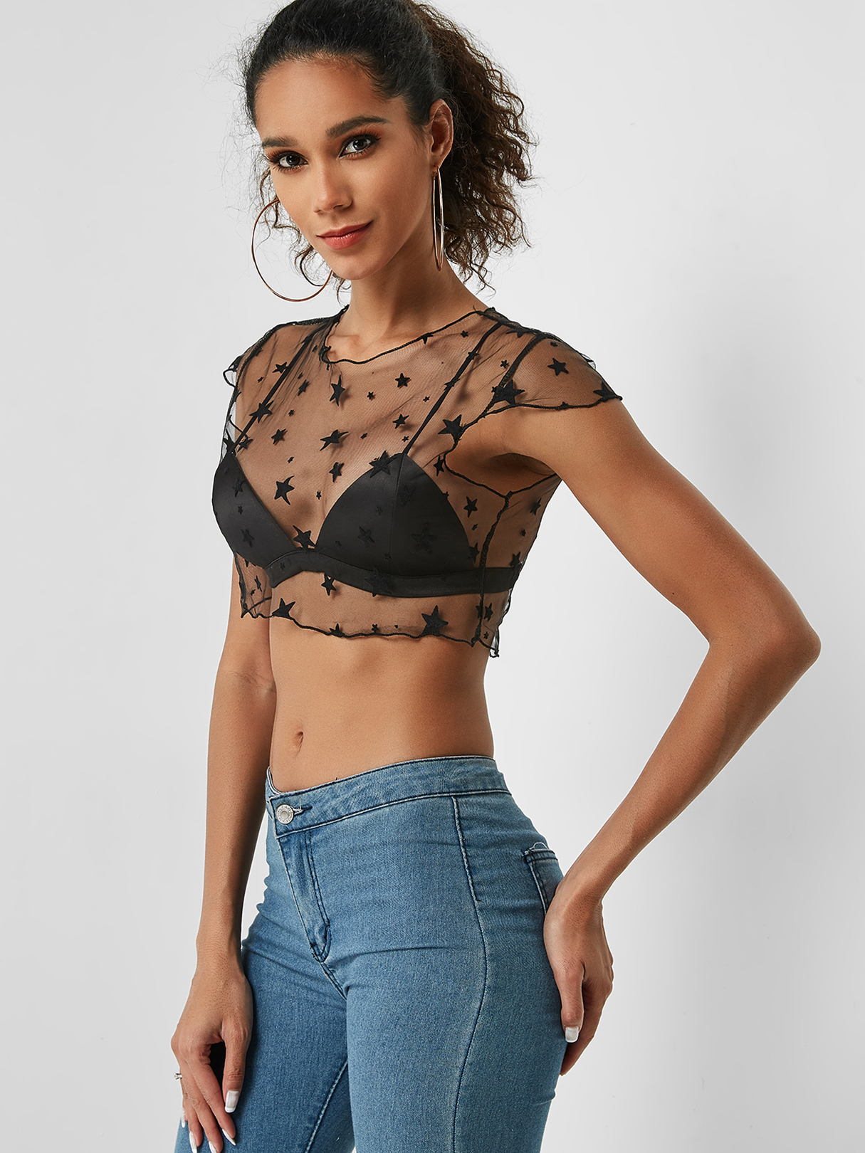 Crop top noir transparent TOPS Noir Tops courts xs|s|m Yoins