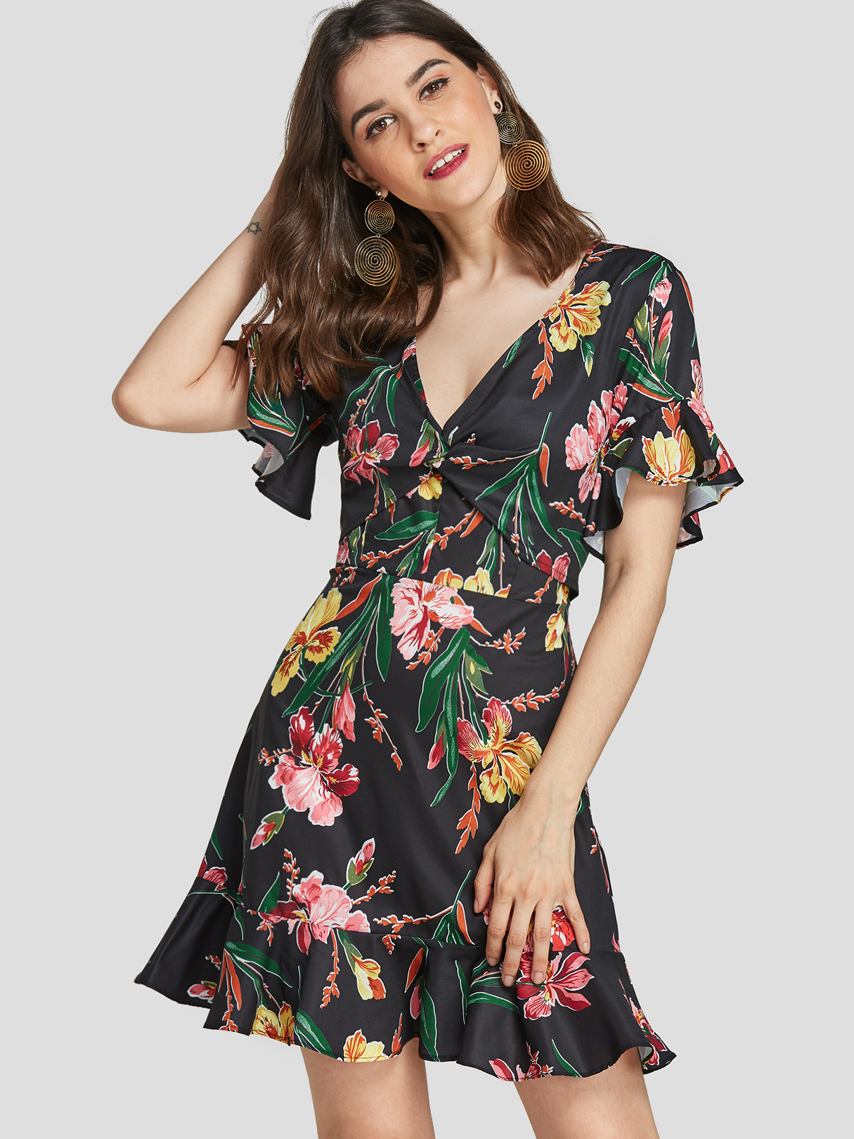 Random Floral Print  Flounce Detail V-neck Mini Dress