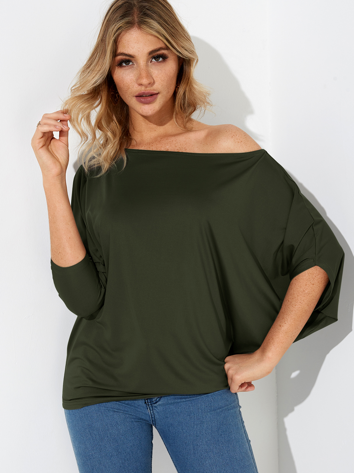 Army Green Pleated Design One Shoulder Long Sleeves T-shirt