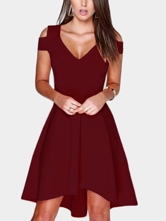 Burgundy Cut Out Cold Shoulder V-neck Mini Dress