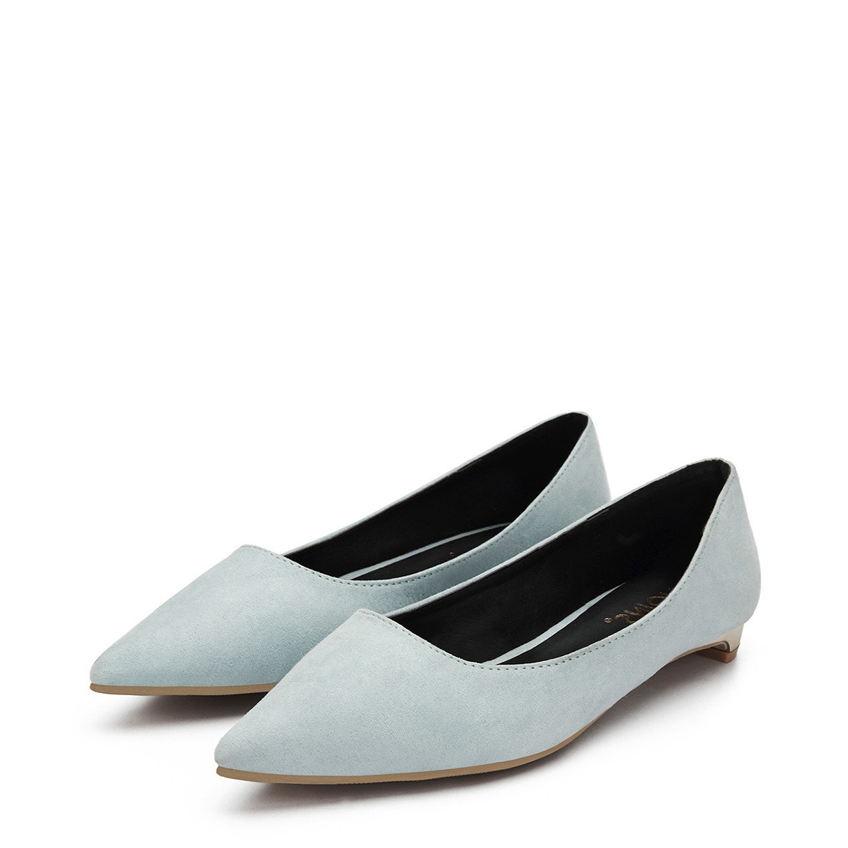 Light Blue Suede Pointed Toe Flat Shoes