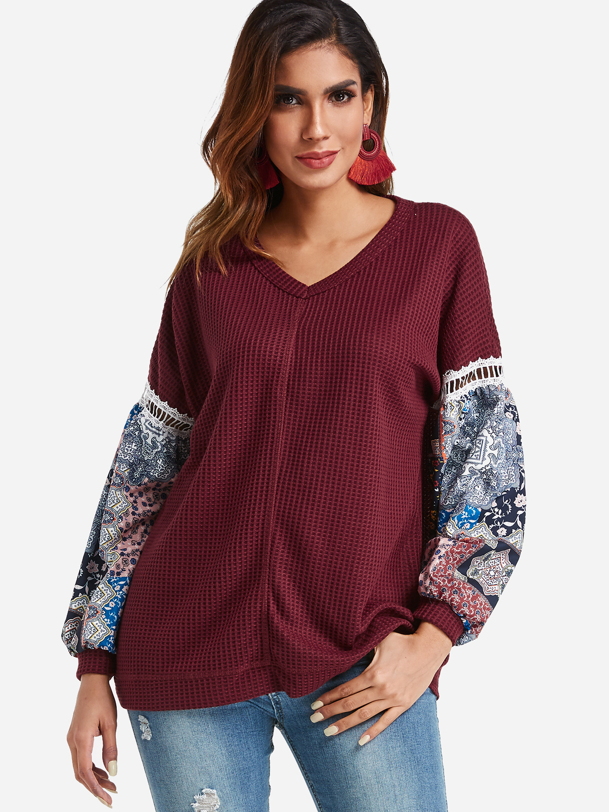 Burgundy V-neck Random Floral Print Puff Sleeve Top