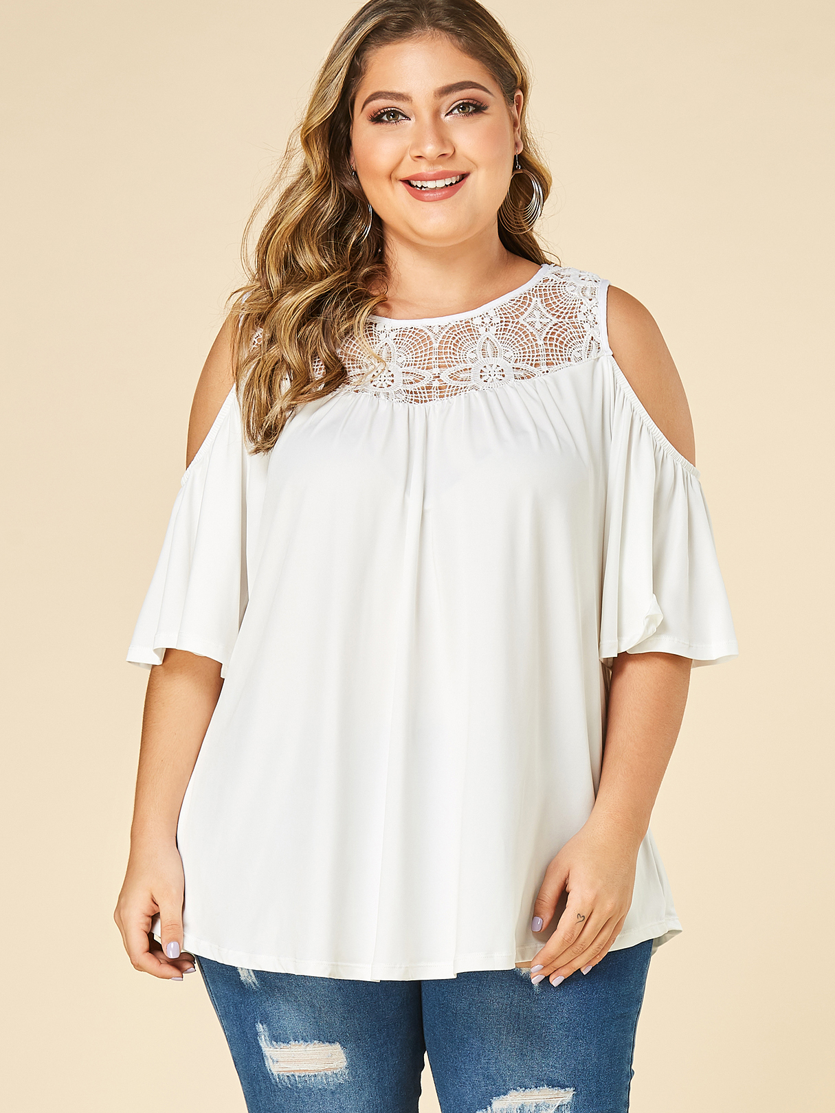 Plus Size White Cold Shoulder Crochet lace embellished Blouse