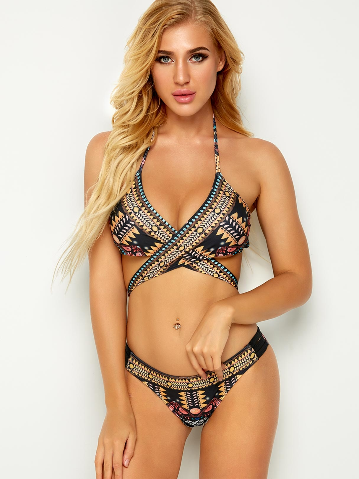 Random Floral Print V-neck Cross Front Cut-out Design Bikini, Multi