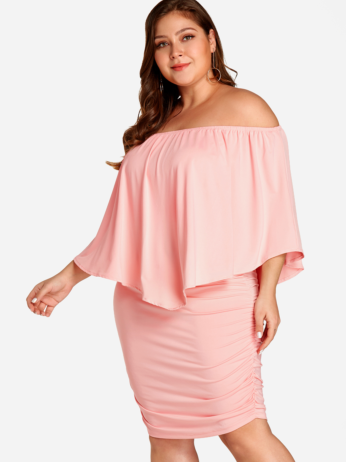 Plus Size Pink Tiered Off Shoulder Ruched Dress
