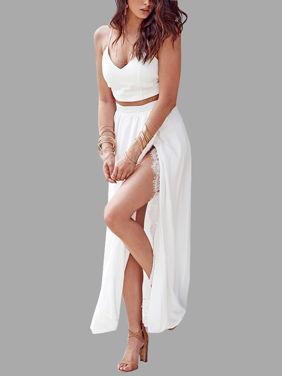 White V-neck Top and Maxi Skirt Lace Hem Co-ord