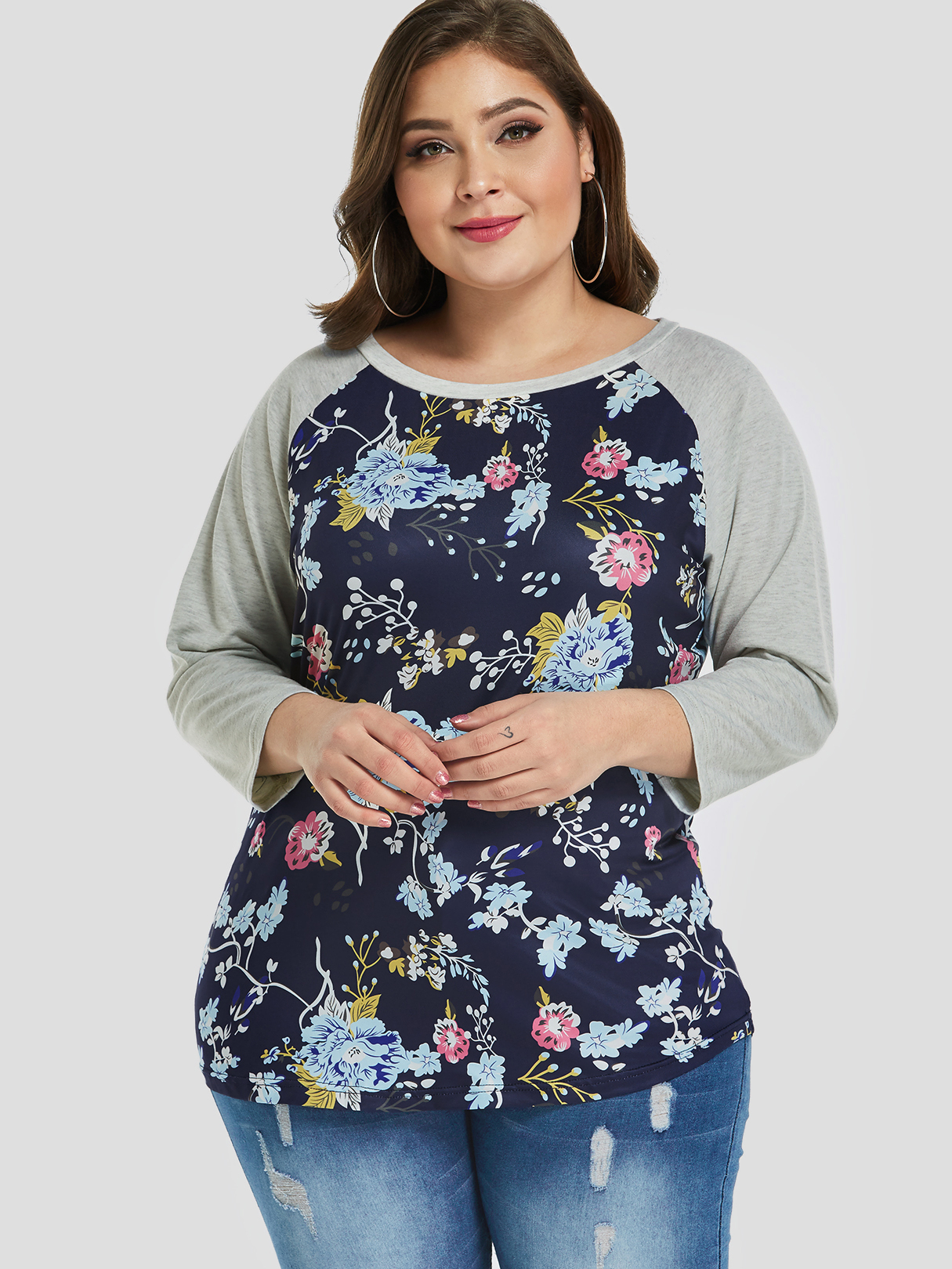 Plus Size Grey Floral Print Tees, Multi