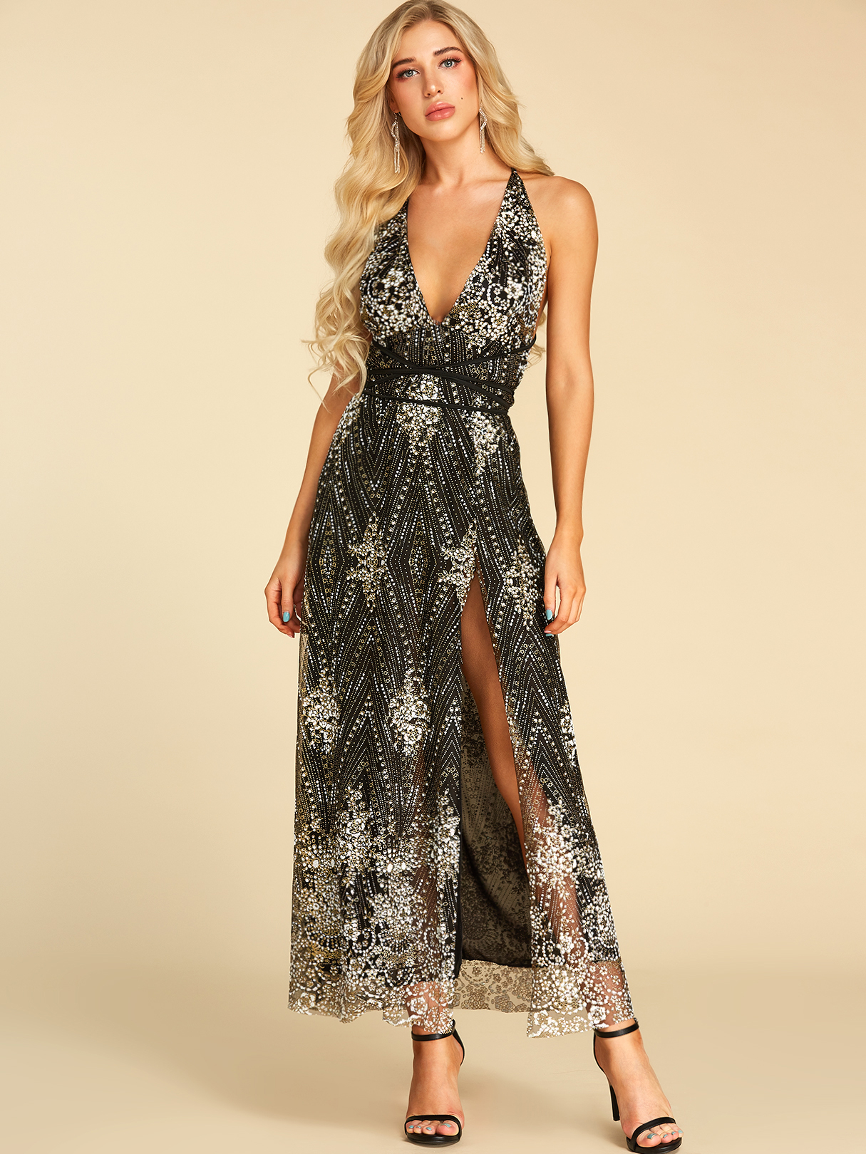 Black Sequins Backless Design Deep V Neck Sleeveless Dress
