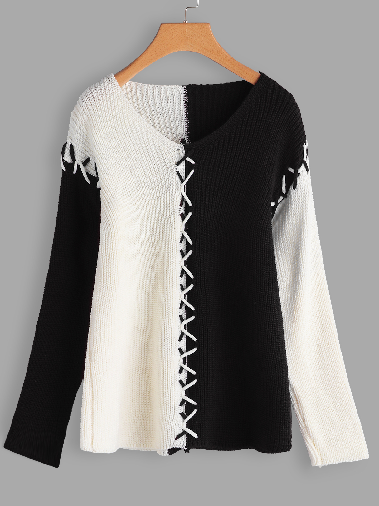 Black Stitching Design V-neck Long Sleeves Color Block Sweaters